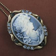 cameo necklace pendant images Blue stone design cameo necklace chain pendant antique gold tone jpg