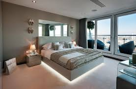 Mirrors Above Nightstands Mirrors Above Bed Bedroom Contemporary With Blue Lampshade