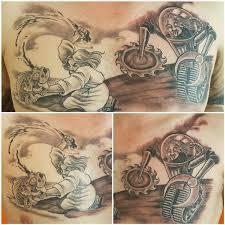 jolly octopus tattoos black and gray religion vs science