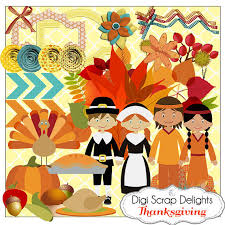 thanksgiving scrapbook kit w turkey pilgrim pumpkin for digital