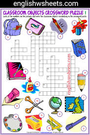 Bedroom Furniture Piece Crossword Clue Classroom Objects Esl Printable Crossword Puzzle Worksheets For
