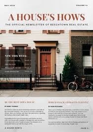 grey and red modern marble real estate newsletter templates by canva