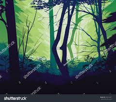 Deep Forest Green High Quality Background Landscape Deep Forest Stock Vector
