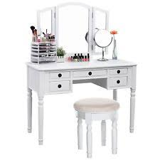 songmics vanity set tri folding mirror make up dressing table
