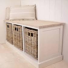 Wicker Storage Bench Southwold Cedar Wooden Ivory Storage Bench Seat Wicker Baskets