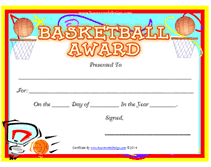 Basketball Certificates Templates Free basketball award certificates templates