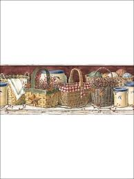 Country Baskets Rust Country Basket Wallpaper Border Kitchen U0026 Dining