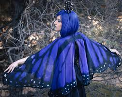 Blue Butterfly Halloween Costume Luna Moth Cape Dance Wings Costume Spanish Luna Moth