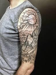 half sleeve sun rising mountains for tatoo