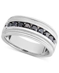 mens silver rings men s sterling silver ring black diamond band 1 ct t w