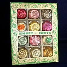 wow vintage shiny brite ornaments going through the