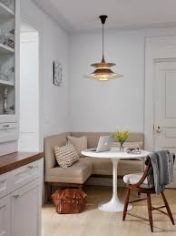dining room white wooden doors design with banquette bench plus