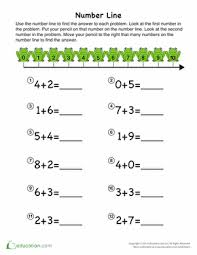 kindergarten number lines single digit addition for kindergarten education
