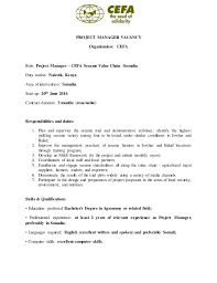 Football Coach Resume Example by Vacancy Announcement Project Manager At Cefa Sesame Value Chain Som U2026