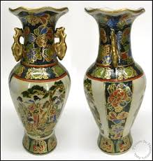 Chinese Vases Uk Oriental Enameled Hand Painted Asian Two Handle 10
