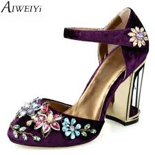 aiweiyi 2017 women high heels shoes silk skin rhinestone buckle