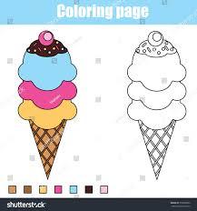 coloring page ice cream cone color stock vector 510876892