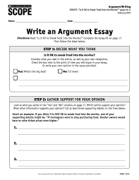 The Example Of Argumentative Essay Using The Debate Essay Kit To Practice Argument Writing Scope