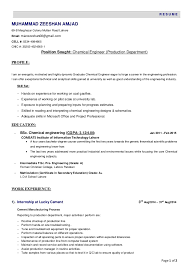 Sample Resume For Chemical Engineer by Resume Chemical Engineer