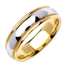 mens two tone wedding bands men s two tone domed wedding band in 18k yellow and white gold 6 5mm