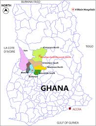 Accra Ghana Map Of Ghana Showing Newhints Trial Districts