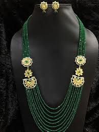 indian beads necklace images Babosa sakhi bollywood kundan necklace green beads long indian jewelry jpeg&