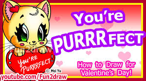 how to draw a heart u0026 cat for love valentine u0027s cute easy art