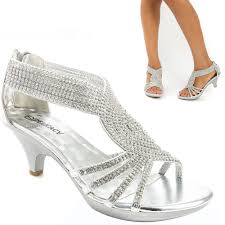 Rhinestone Sandal Heels Silver Bridal Open Toe Rhinestone Low Heel Party Evening
