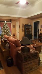 1296 best primitive colonial christmas images on pinterest country style living room with decorated christmas tree