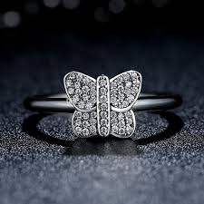 Pandora Wedding Rings by Sparking Butterfly Silver Ring With Cubic Zirconia Original