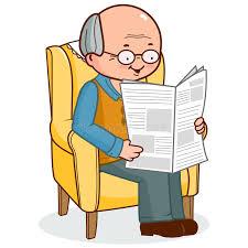 le si e de uomo anziano che si siede in poltrona che legge le notizie