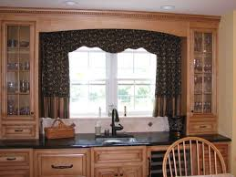 Wide Window Curtains by Brown Wooden Kitchen Cabinet With Half Curtain Kitchen And Mount