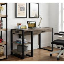 Desk With Computer Storage Walker Edison Furniture Company Urban Blend Driftwood Desk With