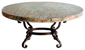 Copper Top Dining Room Tables Round Iron Oxidized Hand Hammered Copper Top Coffee Table