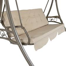Deck Swings With Canopy Sunnydaze Deluxe Steel Frame Beige Cushioned Garden Swing With