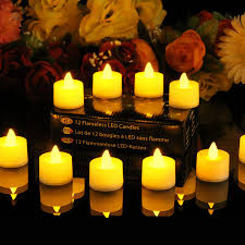 12 flickering battery candles electric led tealights