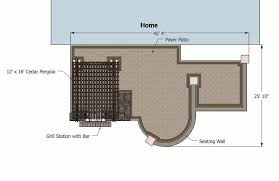 Large Paver Patio Design With Grill Station Bar Plan No by 775 Sq Ft Of Outdoor Living Space Areas For Outdoor Dining