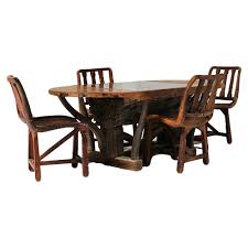 rustic home teak wood tree log dining table set