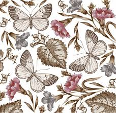 butterfly flower pattern vector material my free photoshop