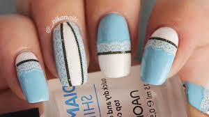 easy lace nails design tutorial diy blue lace nails youtube