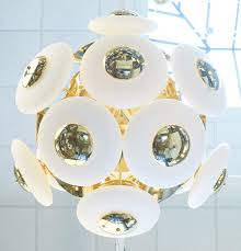 Orb Light Fixture by Murano White Glass Orbs Brass Chandelier Jean Marc Fray