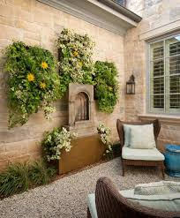 garden feature wall patio traditional with plants eclectic outdoor