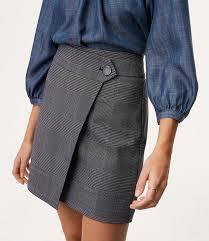 plaid skirt plaid button wrap skirt loft