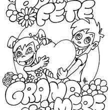 Coloriages coloriage de bonne fête grandmère  frhellokidscom