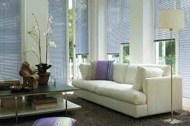 interactive orange themed for your living room with window blinds