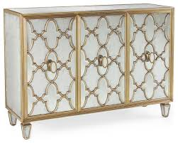 Sideboard And Buffets by Babette Hollywood Regency Silver Leaf Mirrored Gold Lattice