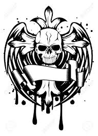 illustration skull with cross and wings royalty free cliparts