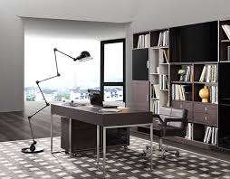 Grey Office Desk Modrest Ezra Modern Brown Oak And Grey Office Desk W Side Cabinet