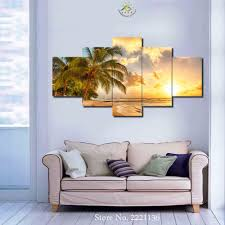 online get cheap sunset tree aliexpress com alibaba group 3 4 5 panels set quiet beach coconut tree sunset canvas painting print living room decorations for home wall art prints canvas