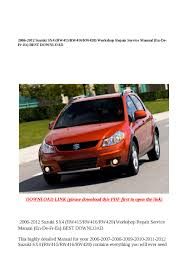 2006 2012 suzuki sx4 rw415 rw416 rw420 workshop repair service